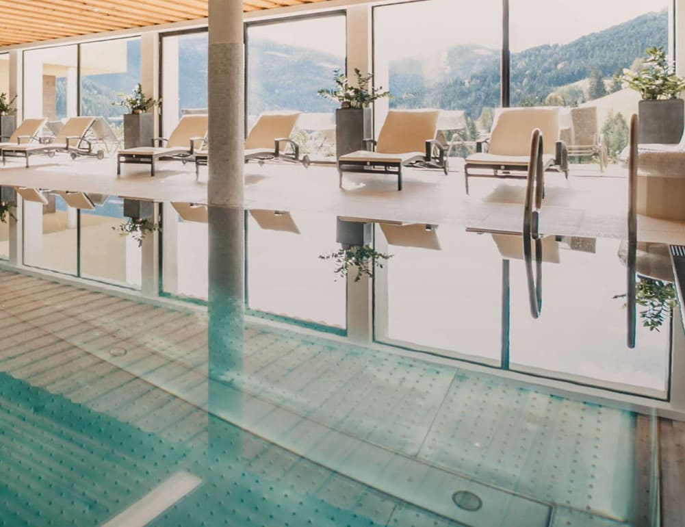 Our hotel with swimming pool and sensational view of the valley in the Salzburg region, Austria © Selina Flasch Photography